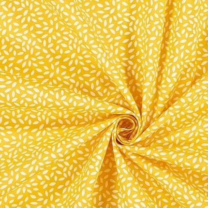 senfgelb mit weißen Punkten – 100% Baumwolle