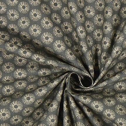 grau mit hellbraunen Kreisen – 100% Baumwolle