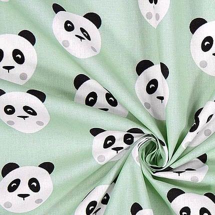 mint mit Pandabären – 100% Baumwolle