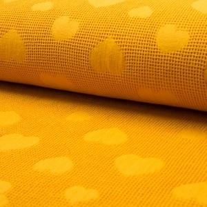 senfgelb Jaquard Waffel Herz – 100% Baumwolle